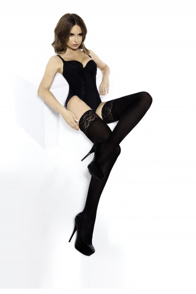 Annes Truss - Opaque hold ups with beautiful floral patterned lace top