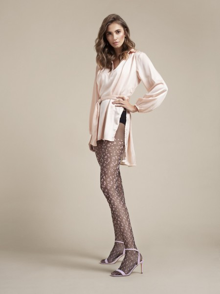 Fiore - Sheer leopard pattern tights