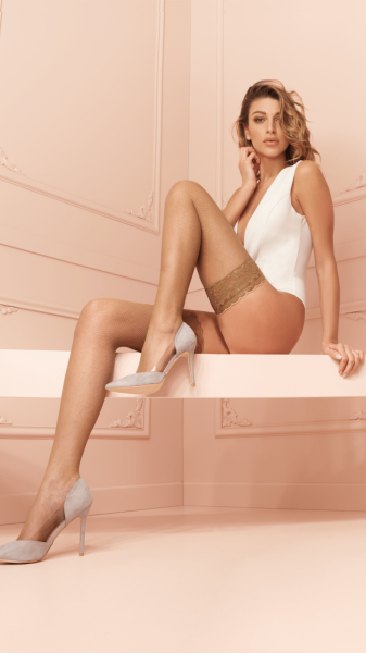Trasparenze - Classic fishnet hold ups in trendy colours Ambra