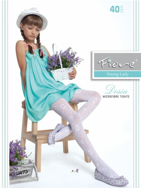 315d2e0cf1252 Fiore - Elegant childrens tights with flower pattern Dosia 40 denier ✅