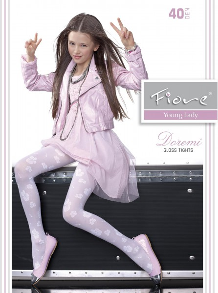 3882a0a95b063 Fiore - Elegant gloss childrens tights with flower pattern Doremi 40 denier  ✅