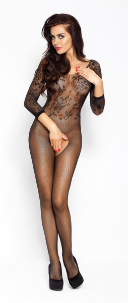 Black Net Catsuit With open crotch