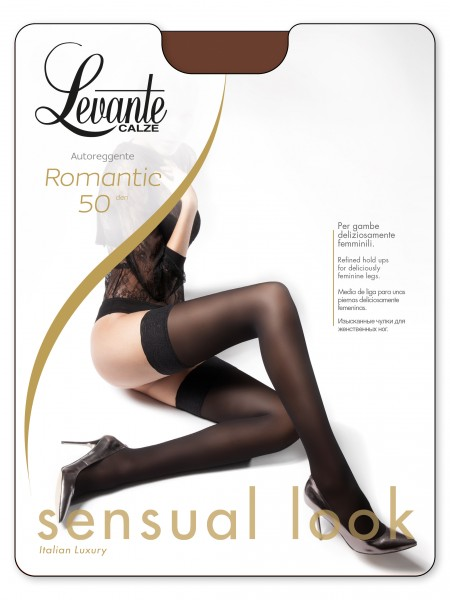 Levante Romantic 50 - Silky matt, opaque hold ups with lace top