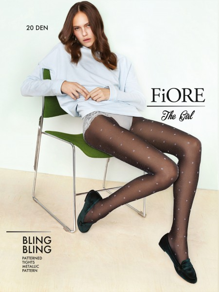 Fiore Bling Bling - Spot pattern tights with lurex-effect