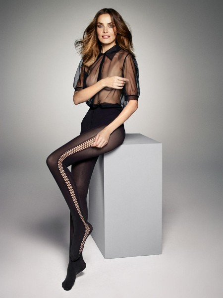 Veneziana - Opaque tights with fishnet details