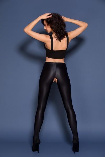 Gabriella - Opaque, high gloss open crotch tights