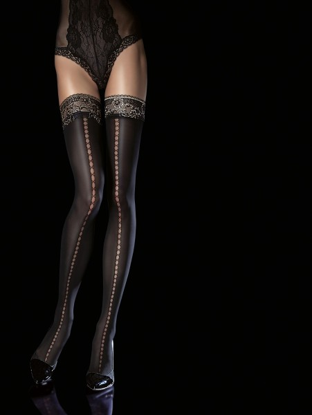 Fiore Sade - Semi-opaque mock lace up hold ups with gold glitter lace top