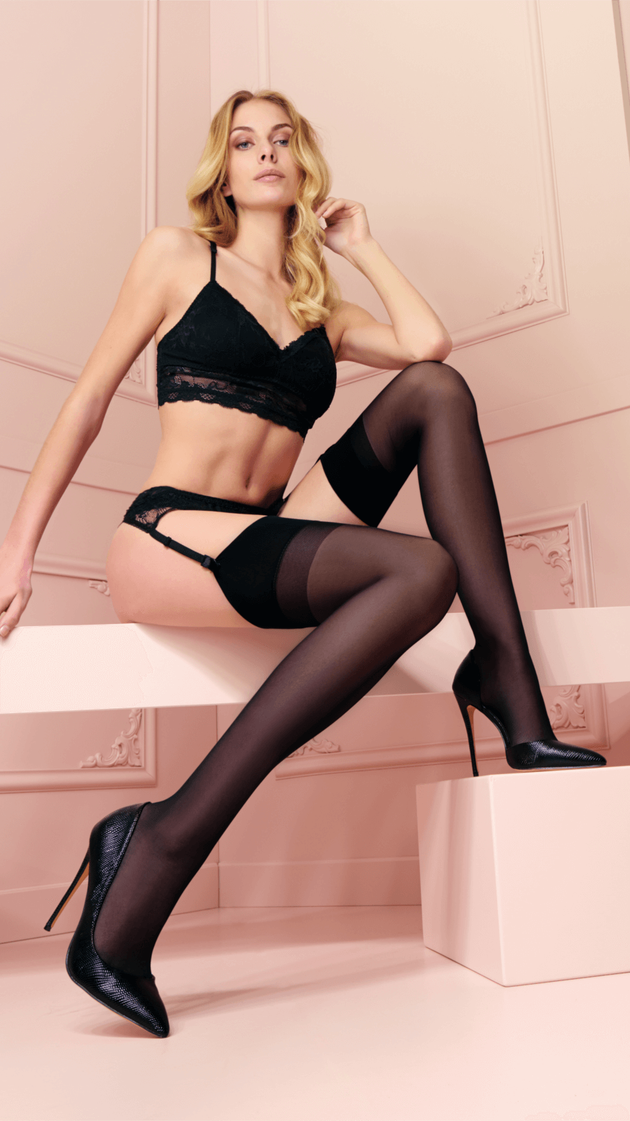 stockings with plain top