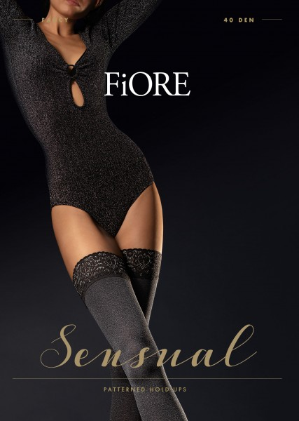 Fiore - Opaque marled look hold ups with silver glitter lace top