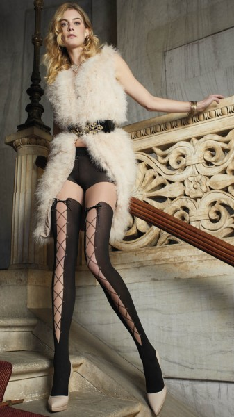 Trasparenze Sauvignon - Sensuous mock over the knee tights with lace up effect