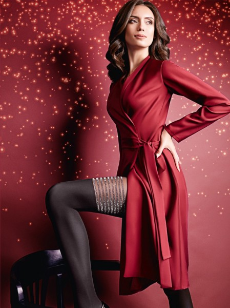 Giulia - Sensuous mock hold up tights with lurex-effect