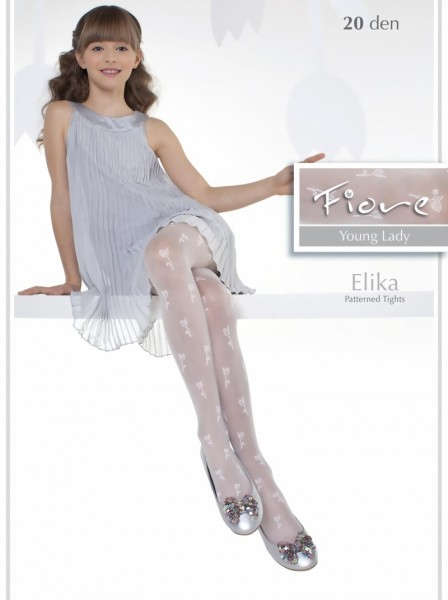 31d79506ee629 Fiore - Elegant childrens tights with flower pattern Elika 20 denier ✅