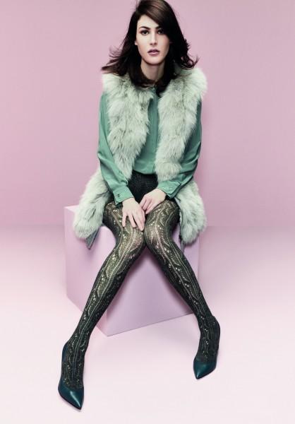 Omero Malika - Stylish openwork pattern tights with wool