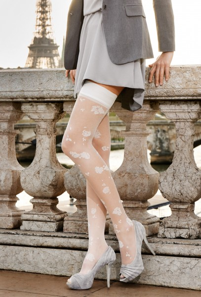 Gerbe - Elegant hold ups with delicate floral pattern Camelia