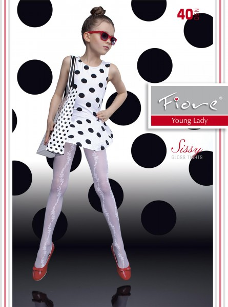 9baabf86eac82 Fiore - Elegant gloss childrens tights with flower pattern Sissy 40 denier  ✅