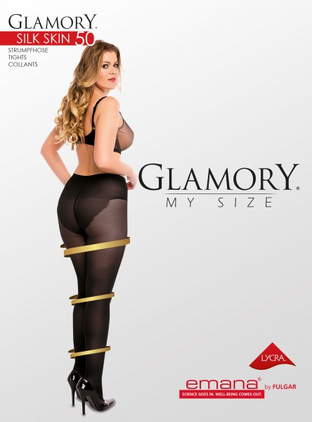 Glamory Silk Skin - 50 denier semi-opaque plus size tights with body shaping panty