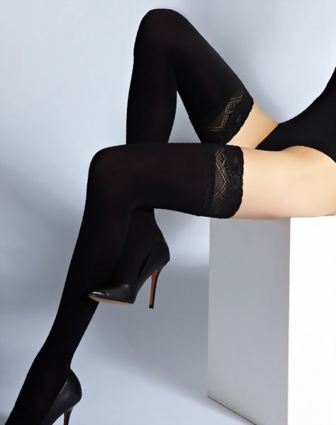 Cecilia de Rafael - Classic opaque hold ups with floral patterned lace top Ave 70 denier