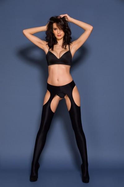 Gabriella - Opaque, high gloss suspender tights