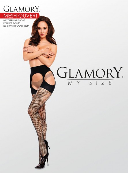 Glamory Mesh Ouvert - plus size fishnet suspender tights