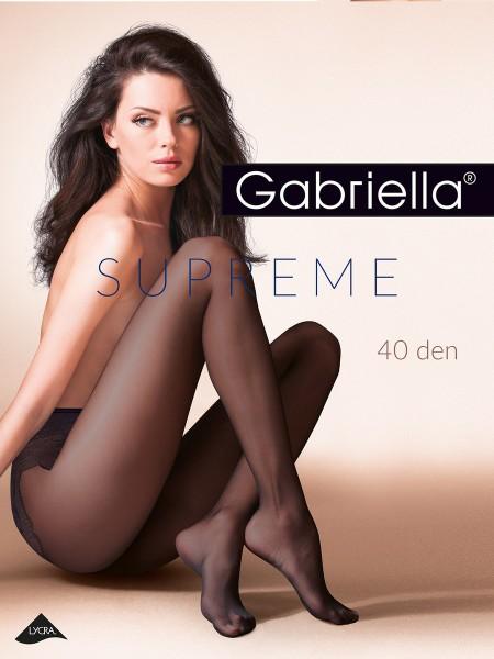Gabriella - Semi-opaque tights with elegant, high cut lace design panty, 40 denier
