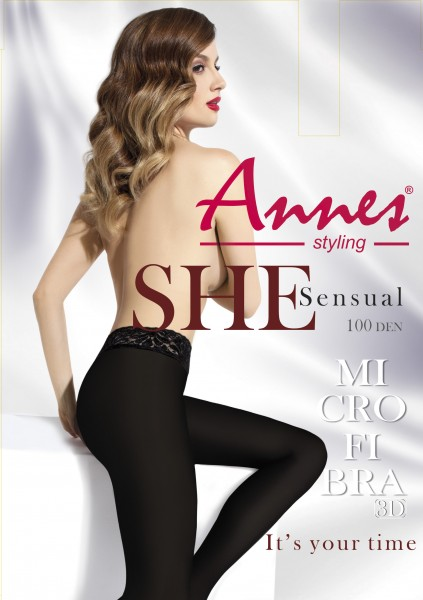 Annes Sensual 100 - Opaque tights with elegant lace finish at the top
