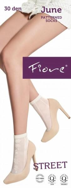 Fiore - Pastel-coloured floral pattern socks June 30 denier