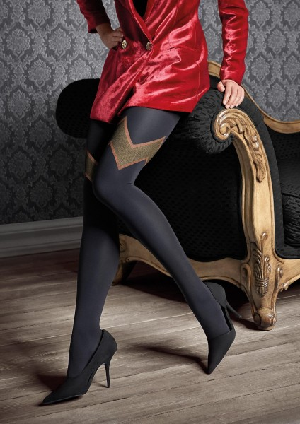 Patrizia Gucci for Marilyn - Mock hold up tights adorned with a glitter pattern and lace top