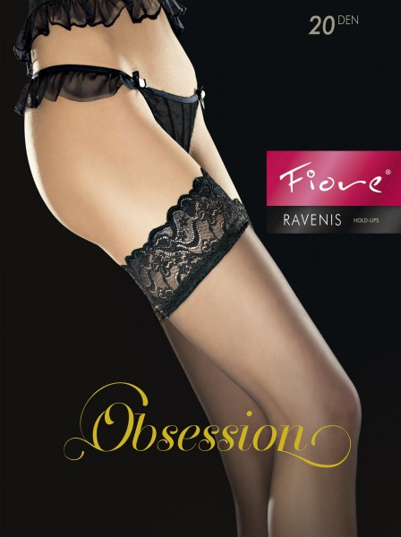 Fiore - Hold ups with beautiful lace top Ravenis 20 denier