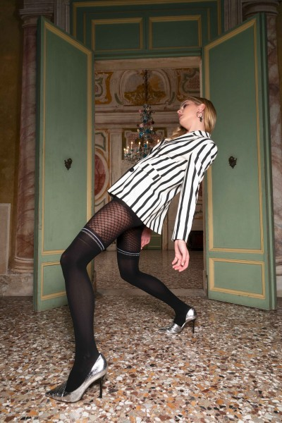 Trasparenze Elfo - Opaque mock fishnet and over the knee tights