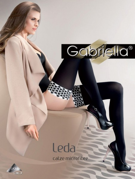 Gabriella Leda - Opaque hold ups with black and white design top