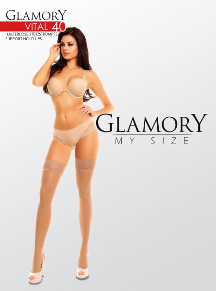 Glamory - Plus size support hold ups Vital 40